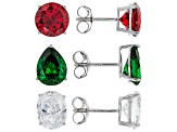Garnet, Green, and White Cubic Zirconia Rhodium Over Sterling Silver Earrings-Set of 3 18.39ctw