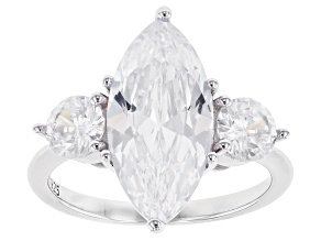 White Cubic Zirconia Rhodium Over Sterling Silver Ring 8.00ctw
