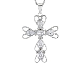 White Cubic Zirconia Rhodium Over Sterling Silver Cross Pendant With Chain 3.92ctw