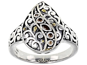 Champagne Cubic Zirconia Rhoidum Over Sterling Silver Ring 0.10ctw