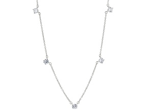 White Cubic Zirconia Rhodium Over Sterling Silver Necklace. 4.10ctw