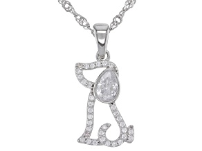 White Cubic Zirconia Rhodium Over Sterling Silver Dog Pendant With Chain 0.89ctw