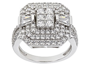 White Cubic Zirconia Rhodium Over Sterling Silver Ring 3.75ctw