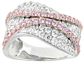 Pink and White Cubic Zirconia Rhodium Over Sterling Silver Ring 4.15ctw
