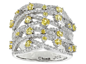 Yellow And White Cubic Zirconia Rhodium Over Sterling Silver Ring 3.22ctw