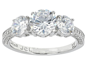 White Cubic Zirconia Rhodium Over Sterling Silver Ring 4.06ctw
