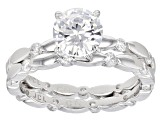 White Cubic Zirconia Rhodium Over Sterling Silver Ring With Band 3.49ctw
