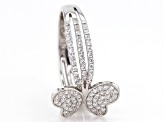 White Cubic Zirconia Rhodium Over Silver Butterfly Ring 1.37ctw
