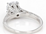 White Cubic Zirconia Rhodium Over Sterling Silver Ring 3.31ctw