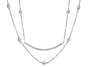 White Cubic Zirconia Rhodium Over Sterling Silver Necklace 2.28ctw