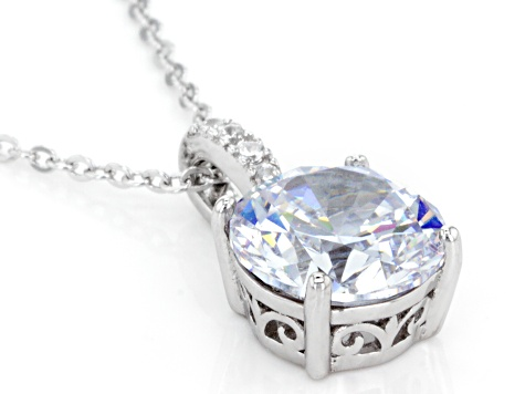 White Cubic Zirconia Rhodium Over Sterling Silver Center Design Pendant With Chain 6.63ctw
