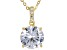 White Cubic Zirconia 18K Yellow Gold Over Sterling Silver Center Design Pendant With Chain 6.63ctw