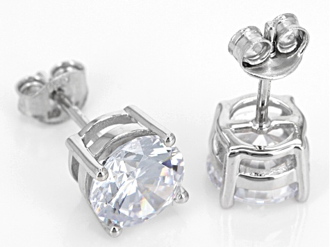 White Cubic Zirconia Rhodium Over Sterling Silver Earrings 9.08ctw