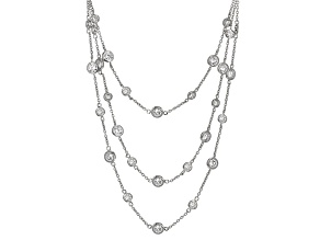 White Cubic Zirconia Rhodium Over Sterling Silver Necklace 12.49ctw