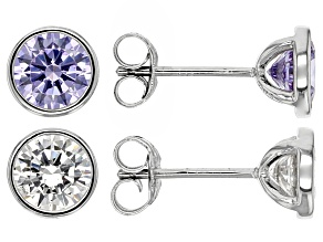 Purple And White Cubic Zirconia Rhodium Over Sterling Silver Earrings 5.72ctw