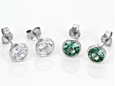 Synthetic Green Spinel & White Cubic Zirconia Rhodium Over Silver Earrings 4.61ctw