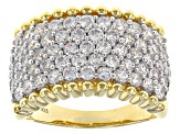 White Cubic Zirconia 18k Yellow Gold Over Sterling Silver Ring 4.17ctw