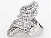 White Cubic Zirconia Rhodium Over Sterling Silver Ring 3.84cctw