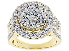 White Cubic Zirconia 18k Yellow Gold Over Sterling Silver Ring 6.40ctw