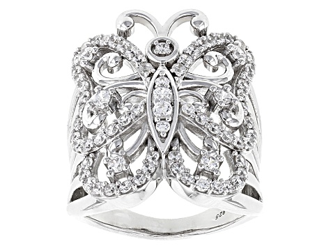 White Cubic Zirconia Rhodium Over Silver Butterfly Ring 2.50ctw