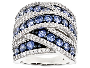 Blue & White Cubic Zirconia Rhodium Over Sterling Silver Ring 6.96ctw