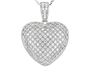 White Cubic Zirconia Rhodium Over Sterling Silver Pendant With Chain 1.94ctw