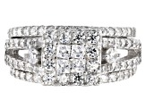 White Cubic Zirconia Rhodium Over Sterling Silver Ring With Bands 2.75ctw