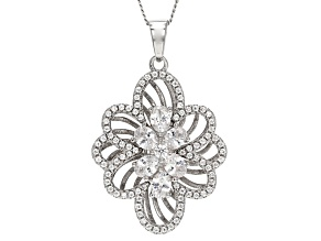 White Cubic Zirconia Rhodium Over Sterling Silver Pendant 2.27ctw