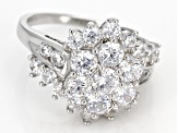 White Cubic Zirconia Rhodium Over Sterling Silver Ring 3.42ctw