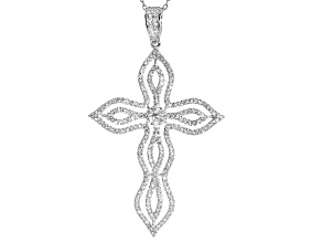 White Cubic Zirconia Rhodium Over Sterling Silver Cross Pendant With Chain 2.51ctw