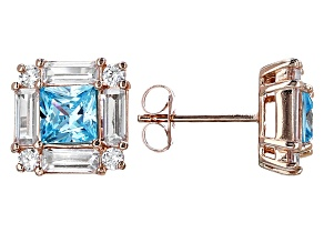 Blue & White Cubic Zirconia 18k Rose Gold Over Sterling Silver Earrings 4.12ctw