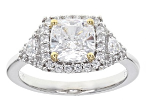 White Cubic Zirconia Rhodium & 18k Yellow Gold Over Sterling Silver Ring 3.43ctw