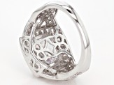 White Cubic Zirconia Rhodium Over Sterling Silver Ring 6.77ctw