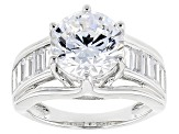 White Cubic Zirconia Rhodium Over Sterling Silver Ring 8.18ctw