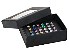 multicolor cubic zirconia rhodium over sterling silver earrings set 16.92ctw