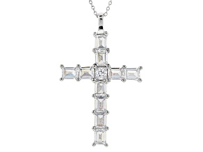 White Cubic Zirconia Rhodium Over Sterling Silver Cross Pendant With Chain 5.52ctw