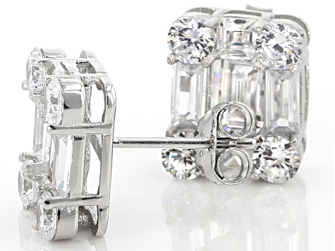 White Cubic Zirconia Rhodium Over Sterling Silver Earrings 7.78ctw