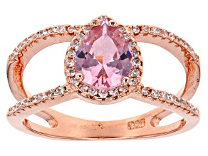 Pink And White Cubic Zirconia 18k Rg Over Sterling Silver Ring 2.37ctw
