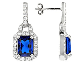 Blue And White Cubic Zirconia Rhodium Over Sterling Silver Earrings 7.05ctw