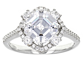 White Cubic Zirconia Rhodium Over Sterling Silver Ring 4.56ctw