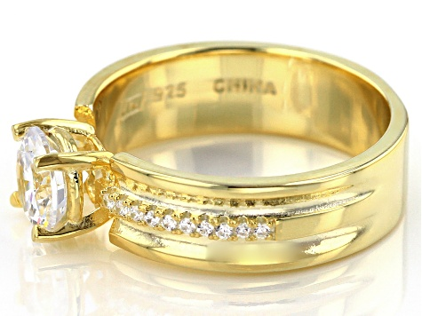 white cubic zirconia 18k yellow gold over sterling silver ring 2.85ctw