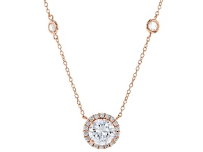White Cubic Zirconia 18k Rg Over Sterling Silver Necklace 5.19ctw