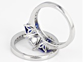 Blue And White Cubic Zirconia Rhodium Over Sterling Silver Ring With Band 5.77ctw