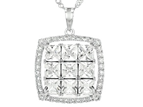 White Cubic Zirconia Rhodium Over Sterling Silver Pendant With Chain 6.04ctw