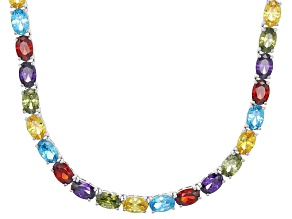Blue,Purple,Green,Yellow,Red Cubic Zirconia Rhodium Over Sterling Necklace 52.05ctw