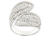 White Cubic Zirconia Rhodium Over Sterling Silver Ring 4.35ctw