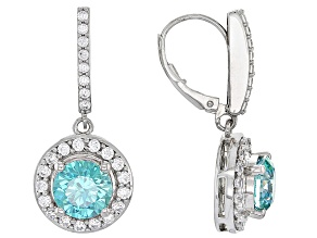 Swarovski ® Green Zirconia & White Cubic Zirconia Rhodium Over Silver Earrings 9.25ctw