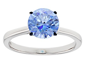Blue Zirconia From Swarovski ® Rhodium Over Sterling Silver Ring 3.33ctw