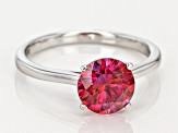 Red Zirconia From Swarovski ® Rhodium Over Silver Ring 3.33ctw