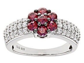 Swarovski ® Red Zirconia & White Cubic Zirconia Rhodium Over Silver Ring 2.46ctw